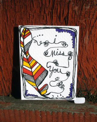 I miss you feather ACEO