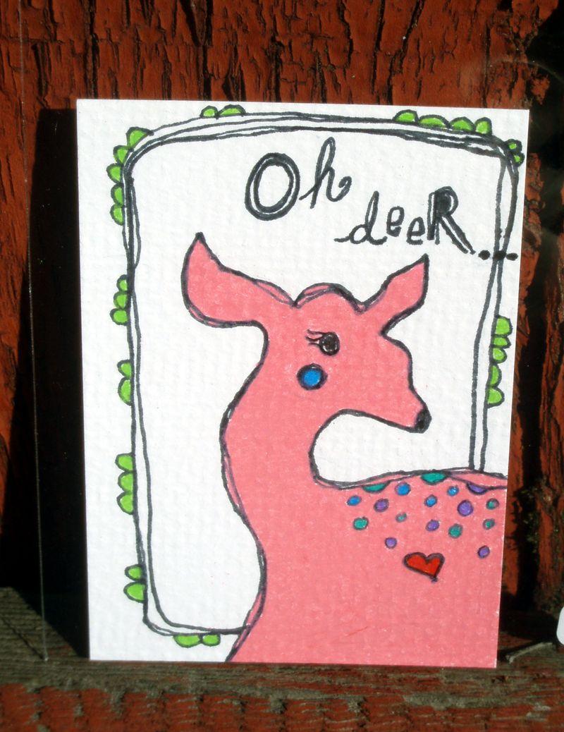 Pink deer ACEO oh deer