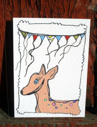 Peach deer ACEO